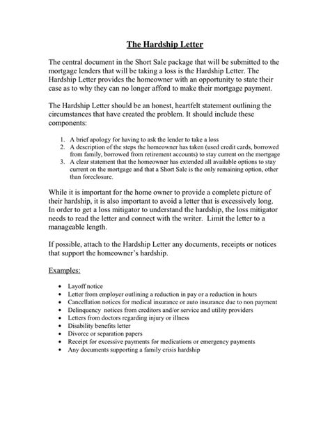 Hardship Letter Business Failure The Hardship Letter In Word And Pdf Formats