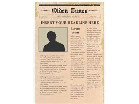 Editable Newspaper Template Portrait Microsoft Powerpoint Newspaper Template