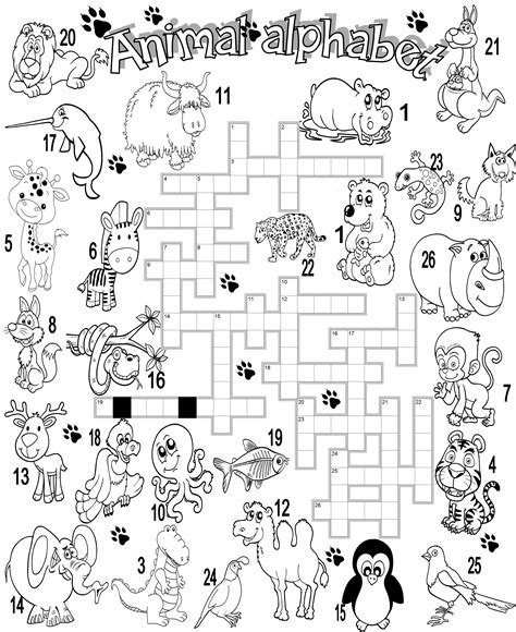 printable puzzles of animals wild animal crossword work crafts pinterest wild