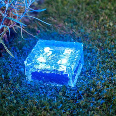 solar pathway lights solar brick ice cube path light crystal garden l blue 4