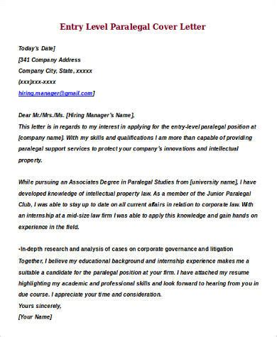 paralegal cover letter entry level sle entry level cover letter 8 exles in word pdf