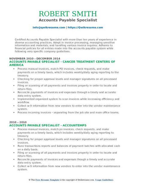 Accounts Payable Resume Pdf by Accounts Payable Specialist Resume Sles Qwikresume