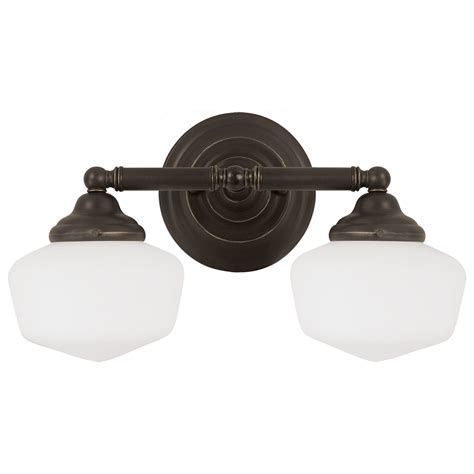 Schoolhouse Bathroom Light Sea Gull Lighting Academy Heirloom Bronze Two Light Bathroom Vanity Fixture With Satin White