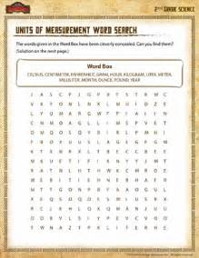 units of measurement word search 2nd grade science