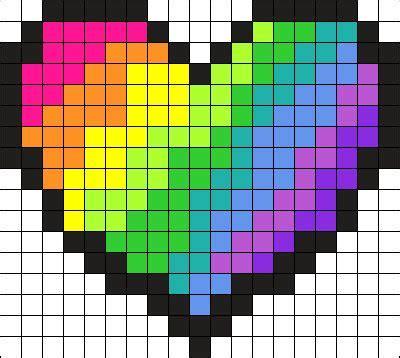 heart pattern rainbow rainbow heart perler bead pattern bead sprite perler