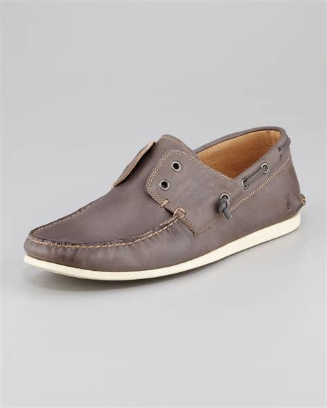 varvatos shoes varvatos schooner boat shoe in gray for lyst