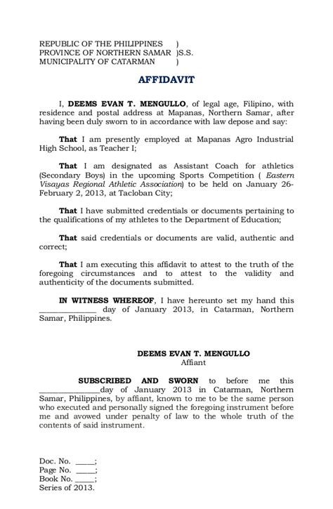 Affidavit Of Support Sle Letter Philippines Affidavit Deped Coach