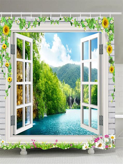 Scenery Window Curtains Waterproof Flowers Window Scenery Shower Curtain In Green W65 Inch L71 Inch Sammydress