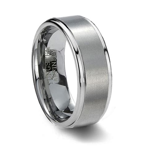 Carbide Wedding Band by Brushed Finish Tungsten Carbide Wedding Band Step Edge