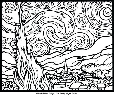 mandala coloring book hastings terrific gogh starry coloring page free