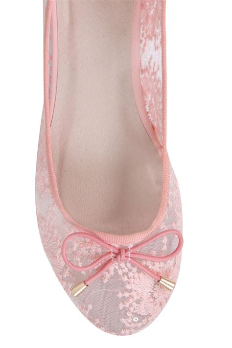 light pink bow light pink floral mesh ballerina pump with bow detail in e