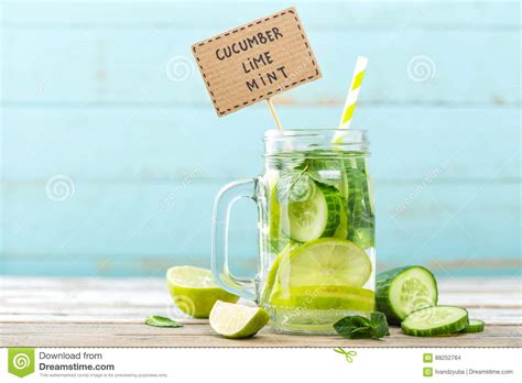 Lime Water Detox Diet by Infused Detox Water With Cucumber Lime And Mint Stock