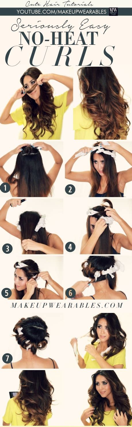 cute hairstyles no heat curls how to curl short hair step by step pictures