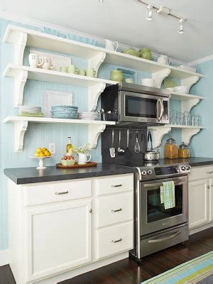 Over The Range Microwave And Open Shelving Kitchens | over the range microwave and open shelving