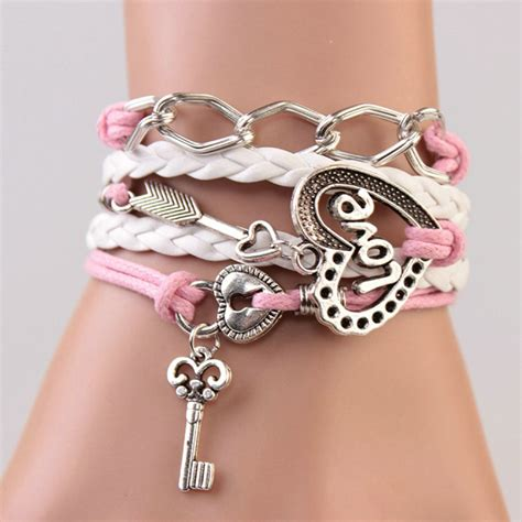 Gelang Vintage Friendship Charm Leather Bracelet Bangle gelang vintage locked charm leather bracelet bangle q2 multi color