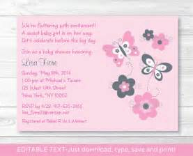 pink butterfly baby shower invitation instant editable pdf by prints inc