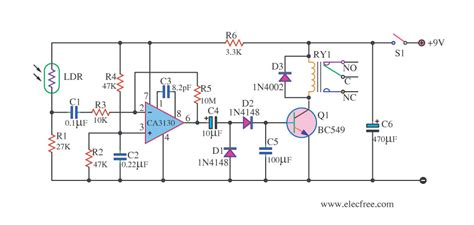 light detector by ic timer 555 electronic projects circuits