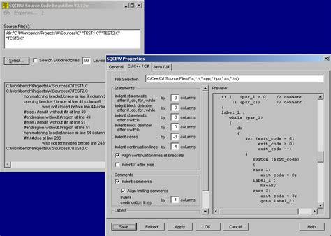 format html code beautifier sqcbw source code beautifier 3 12v full screenshot