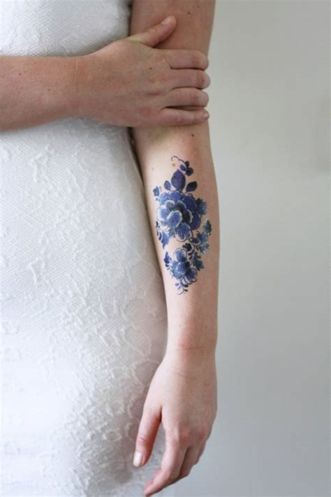 large temporary tattoos large floral vintage delfts blauw temporary