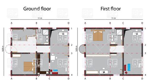ground floor and first floor plan home ground and first floor plans vector image 11187