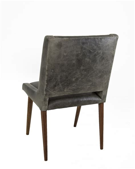 Distressed Dining Chairs Mid Century Dining Chair In Distressed Grey Leather Modshop