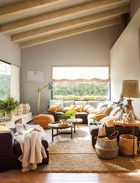 muebles de salon rustico moderno sal 243 n r 250 stico moderno con sof 225 rinconero y muchos cojines