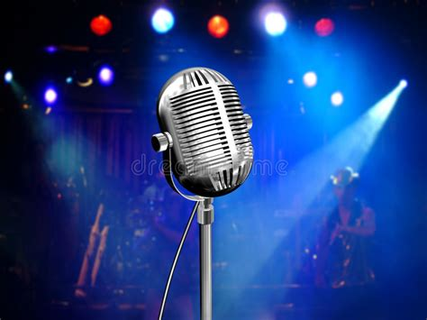 imagenes retro karaoke retro microphone with blue reflectors stock illustration