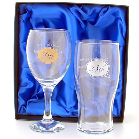 Anniversary Wine And Beer Glass Set, Personalised With Any