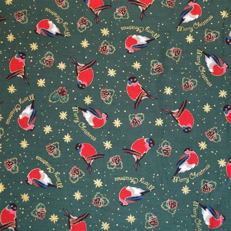 printable fabric uk green robin print christmas fabric christmas fabrics