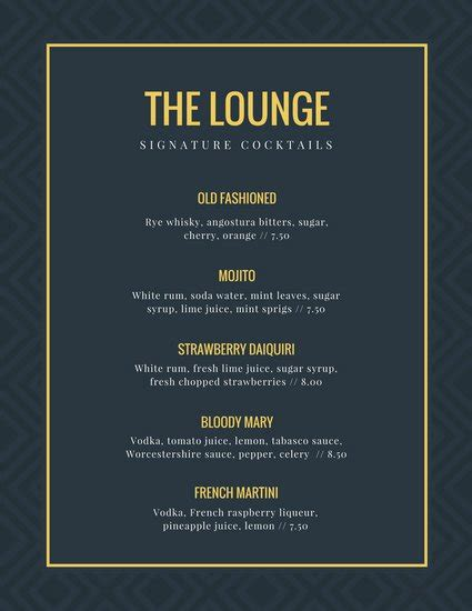 blue martini menu elegant menu templates canva