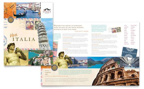 italy travel brochure template design
