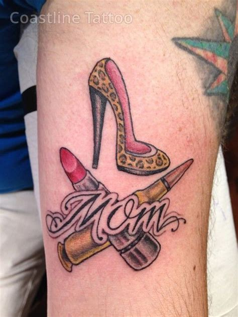 shoe tattoo designs tribute high heels lipstick ak47 bullet custom