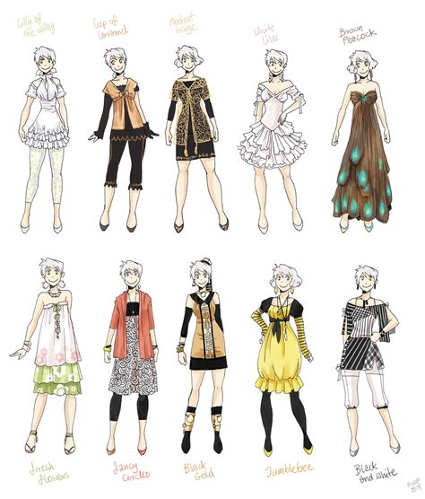 fashion design referenced various female clothes 5 by meago on deviantart
