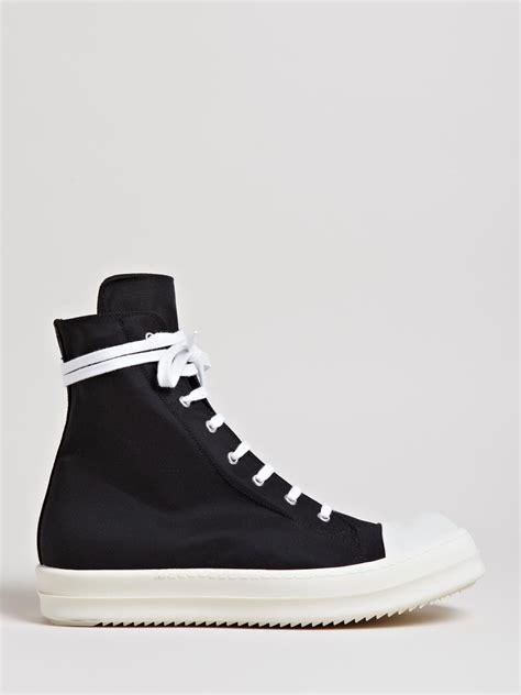 drkshdw by rick owens scuba high sneakers in black for