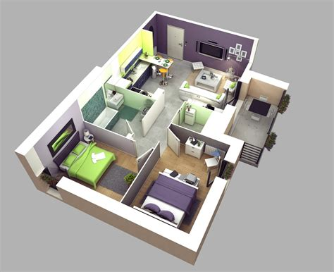 2 Bedroom House Decorating Ideas by 50 3d Floor Plans Lay Out Designs For 2 Bedroom House Or