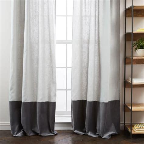 how to iron linen curtains belgian flax linen velvet colorblock curtain platinum