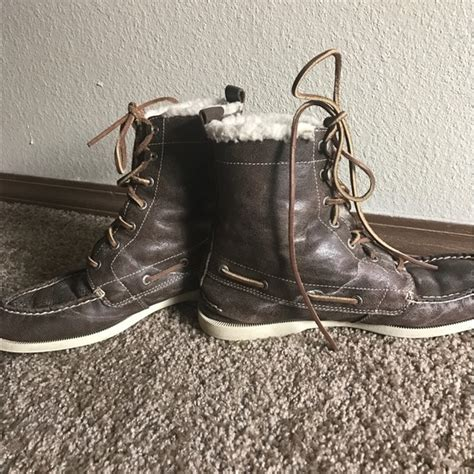 mens fuzzy boots 36 sperry top sider shoes sperry topsider mens