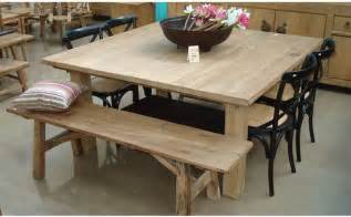 Rustic Wood Dining Table With Bench Exquisite Square Dining Table From Solid Wood Rustic Oak Square Dining Table With Bench And
