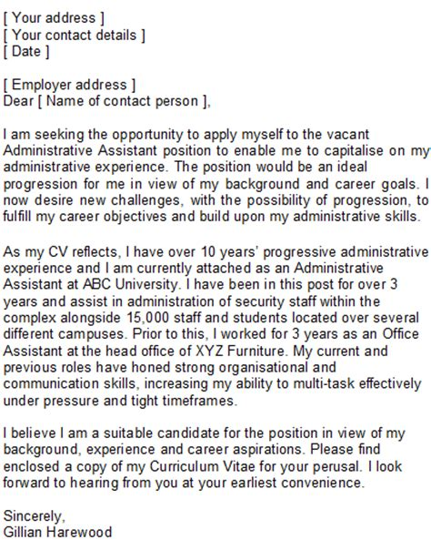 cover letter for office assistant office assistant covering letter sle