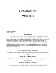 gravimetric analysis lab report sle gravimertric analysis of an alkali metal carbonate lab