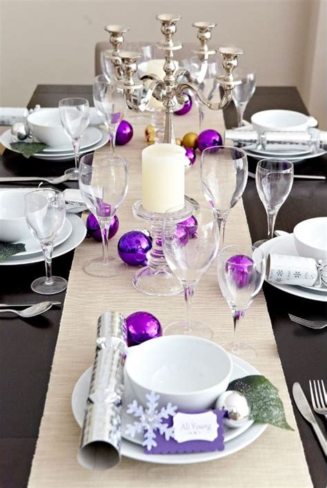 decorations purple and silver d 233 co de table pour noel violet d 233 cor de no 235 l