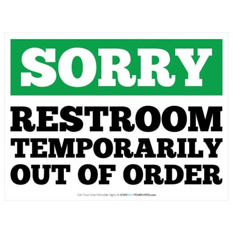 Restroom Out Of Order Printable Sign Template Free Printable Sign Templates Pinterest Out Of Order Sign Template