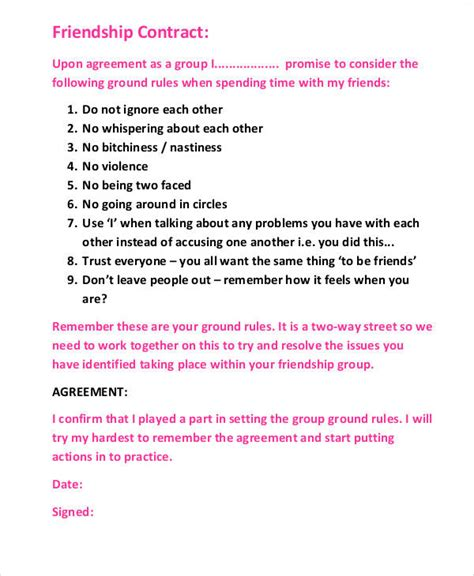 friendship agreement template friendship agreement template 28 images 11 best images