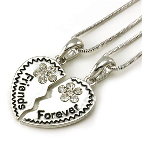 best friends forever bff pendant necklace clear high