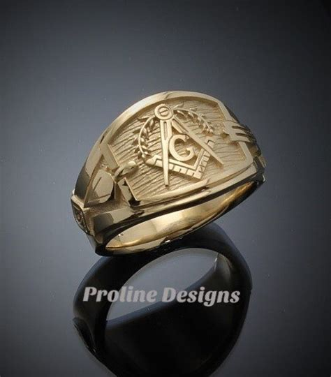 Handmade Masonic Rings - masonic blue lodge ring cigar band style in gold