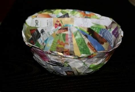 paper bowl crafts a stack of magazines or newspapers and want