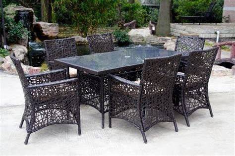 Wicker Patio Dining Set Clearance Patio Sets Clearance 7pc Spider Web Wicker Patio Dining Set With Cushions Sale