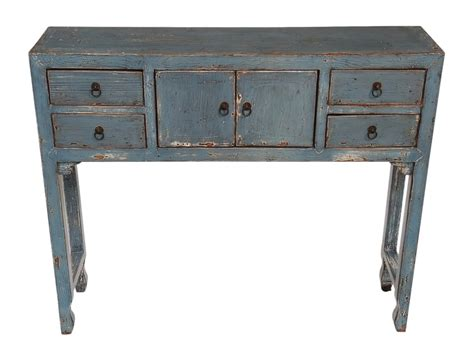 blue slim console table with drawers altar console tables