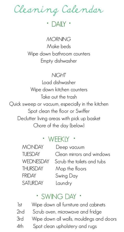 easy and maintainable cleaning schedule home inspiration