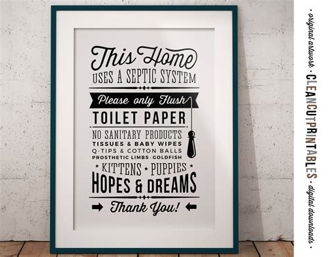bathroom signs for septic systems bathroom sign septic system only flush toilet paper no hopes